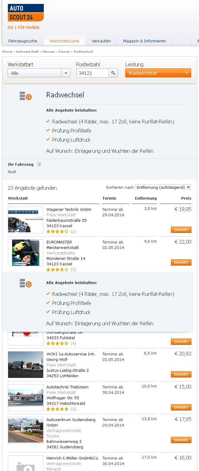 Reifenwechsel Kassel: Preisvergleich Beispiel
